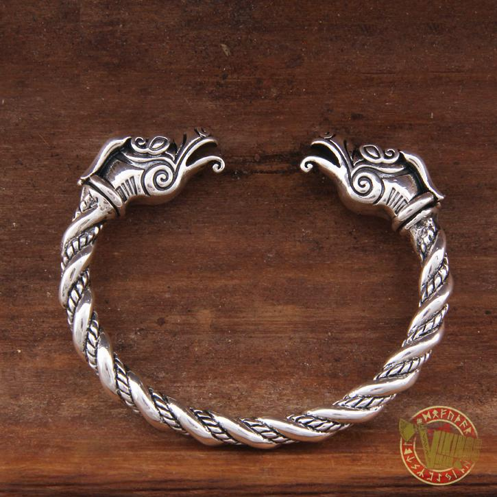 925 Sterling Silver Dragon Viking Bangle Bracelet Arm Ring - VikingsBrand