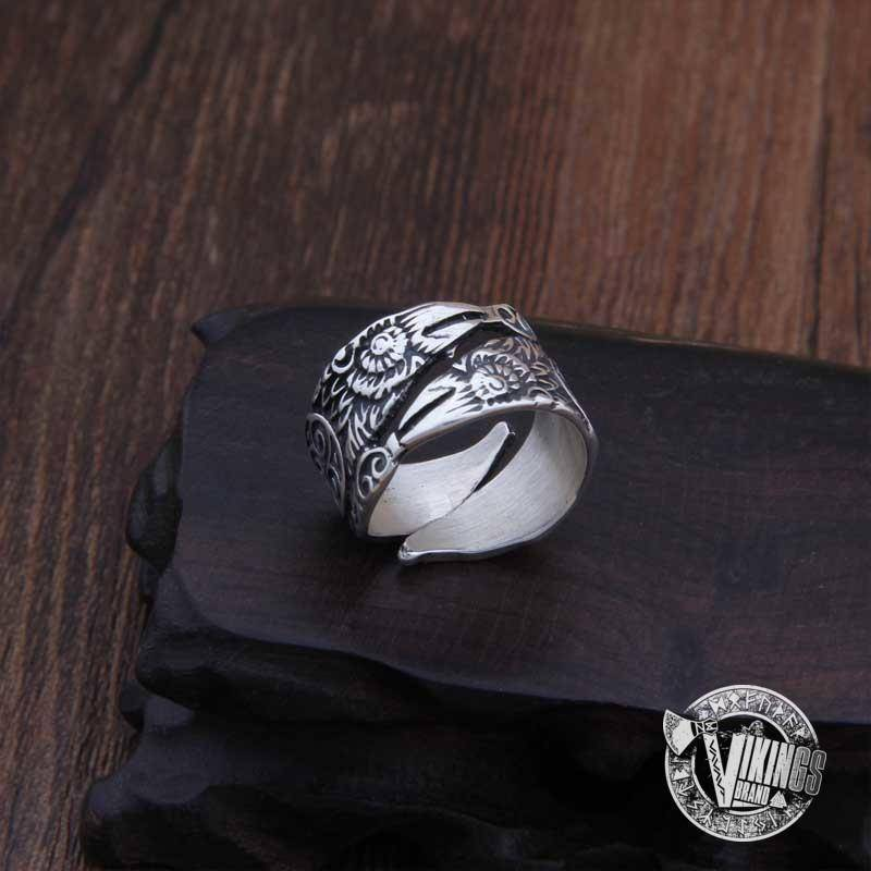 925 Sterling Silver Huginn & Muninn Viking Ring - VikingsBrand