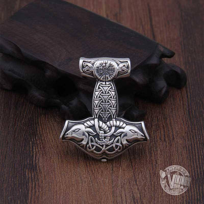 925 Sterling Silver Thor Mjolnir with Vegvisir and Goat Heads - VikingsBrand