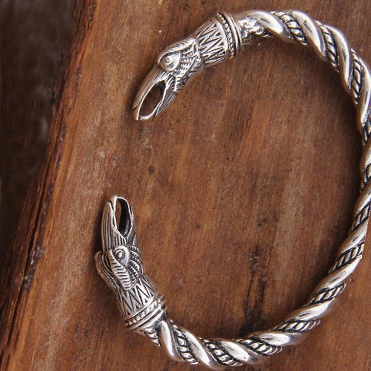 925 Sterling Silver Twisted Wire Raven Huginn & Munnin Viking Bangle Bracelet Arm Ring - VikingsBrand