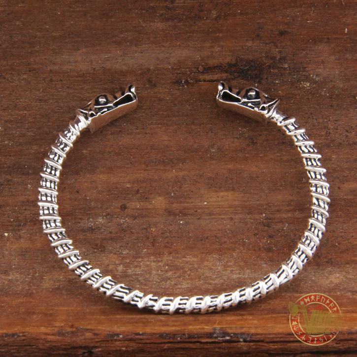 925 Sterling Silver Wolf Heads Viking Bangle Bracelet Arm Ring - VikingsBrand