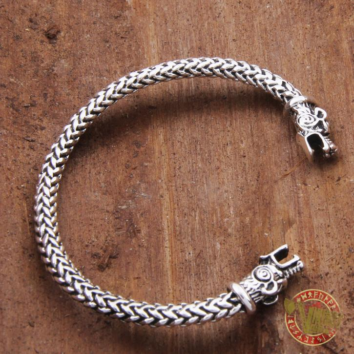 925 Sterling Silver Wolf Viking Bangle Bracelet Arm Ring - VikingsBrand