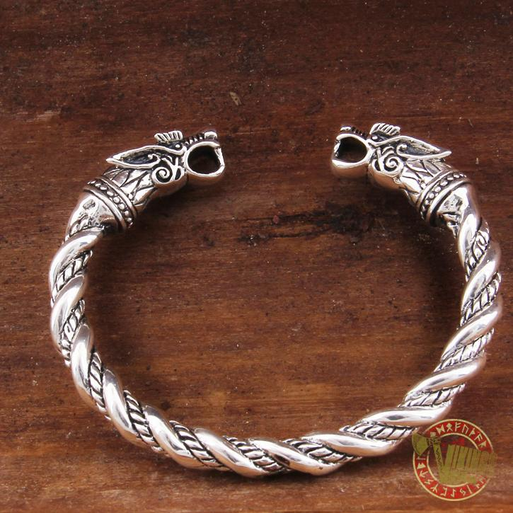 925 Sterling Silver Wolf Viking Twisted Wire Bangle Bracelet Arm Ring - VikingsBrand