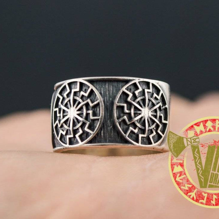 Sterling Silver Ring with Black Sun Symbol - VikingsBrand