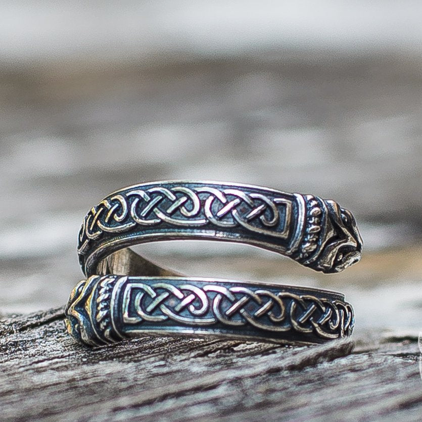 Jormungand Ornament 925 Sterling Silver Viking Ring - VikingsBrand