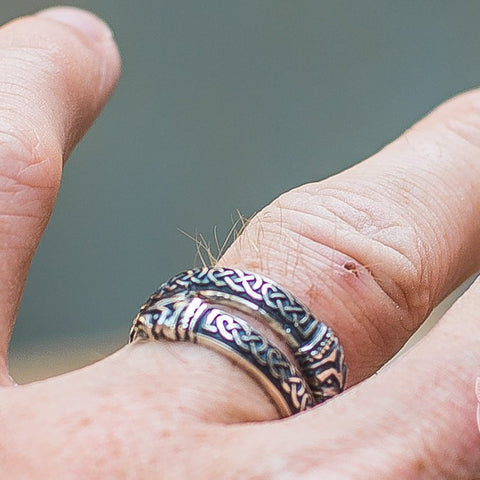 Image of Jormungand Ornament 925 Sterling Silver Viking Ring - VikingsBrand