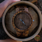 Arne Viking Wooden Watch with Vegvisir Viking Symbol & Engraved Honor the Gods, Love Your Woman, Defend Your Kin Saying - VikingsBrand