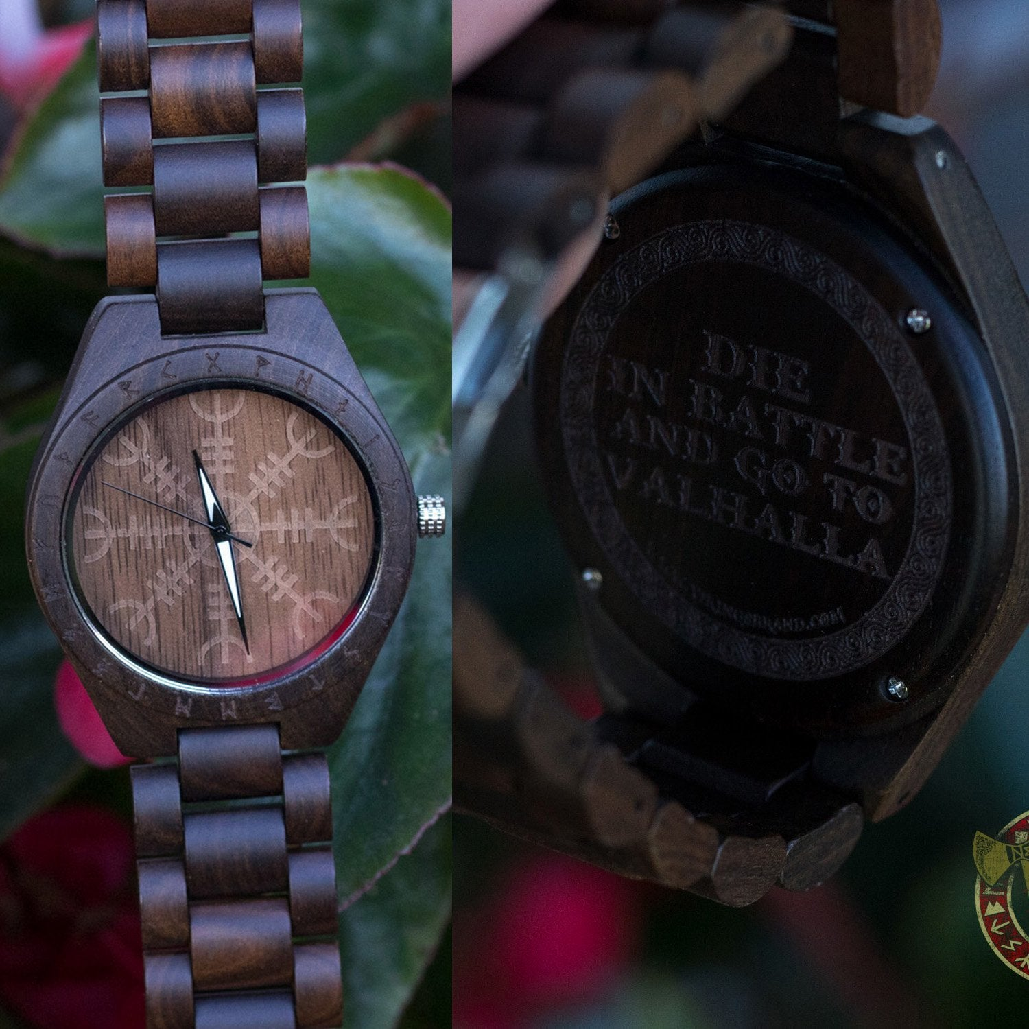 Bard Viking Wooden Watch with Helm of Awe Viking Symbol & Engraved Die in Battle & Go To Valhalla Saying - VikingsBrand