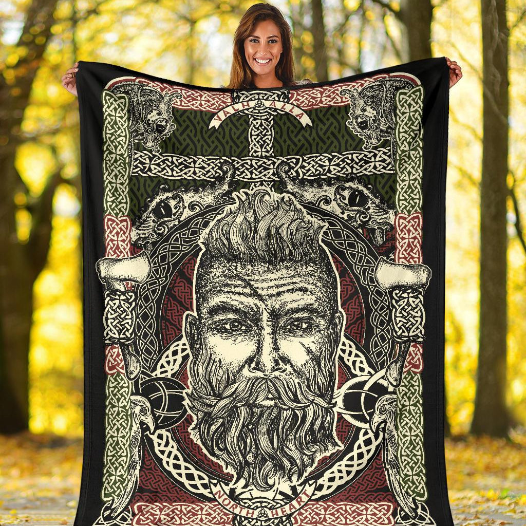 Bearded Viking Warrior Blanket - Viking Home Accessories - VikingsBrand