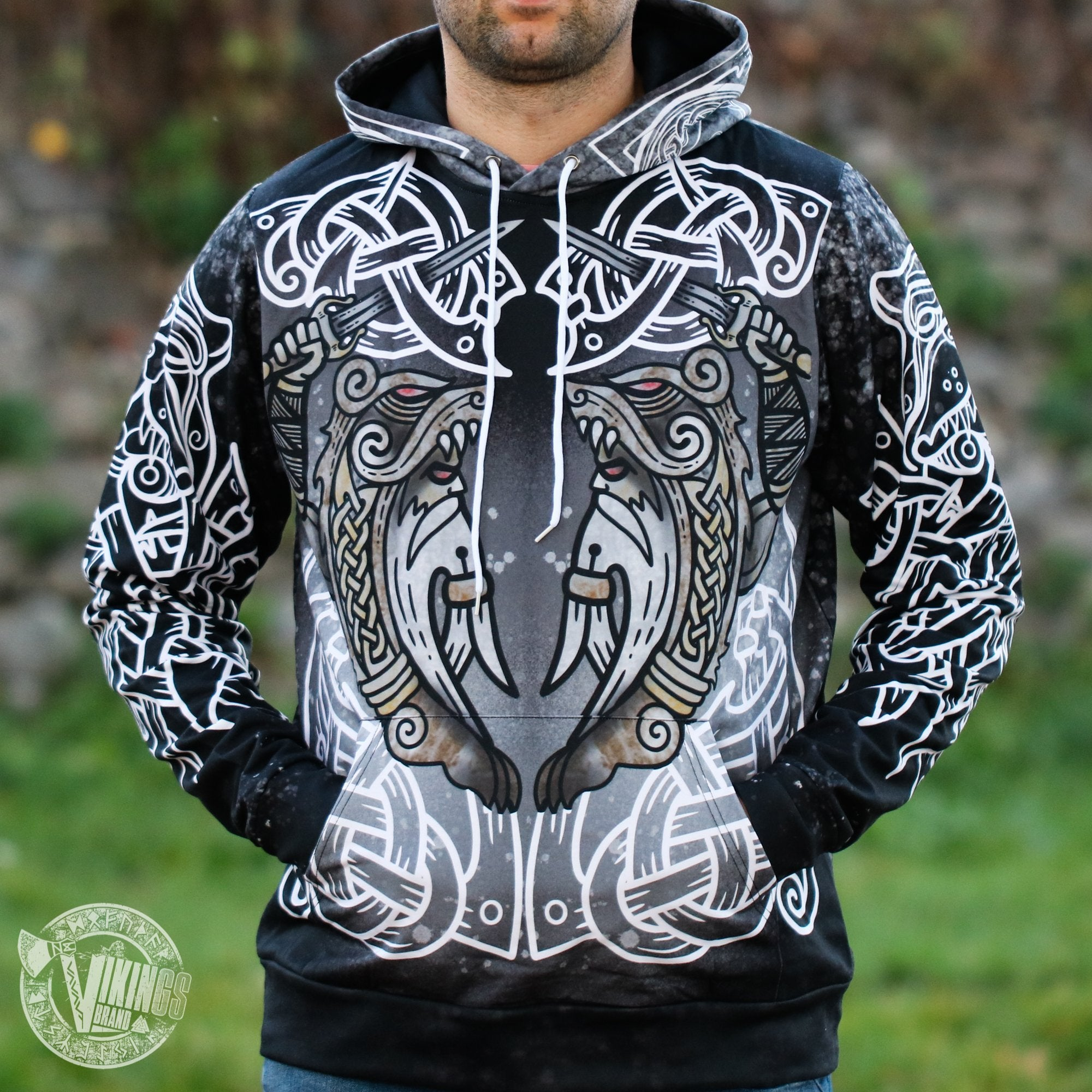 Berserker Warrior Cotton Hoodie - BLACK & WHITE