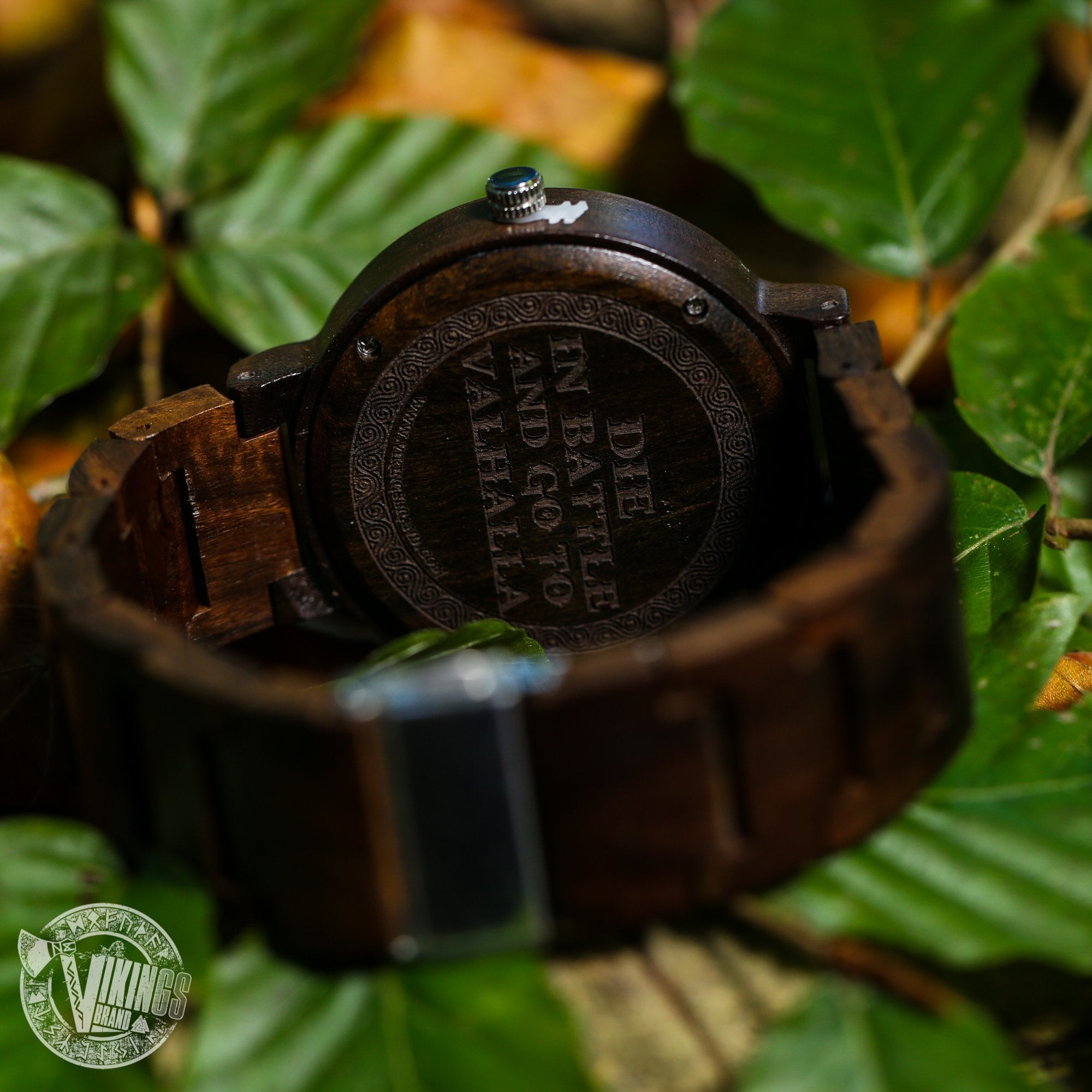 Bifrost Viking Wooden Watch with Helm of Awe Viking Symbol & Engraved Die in Battle & Go To Valhalla Saying - VikingsBrand