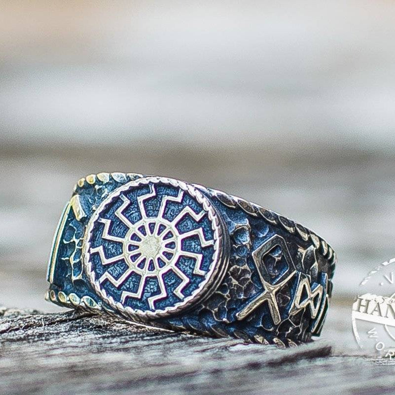 Black Sun Ring with Hail Odin Runes - VikingsBrand
