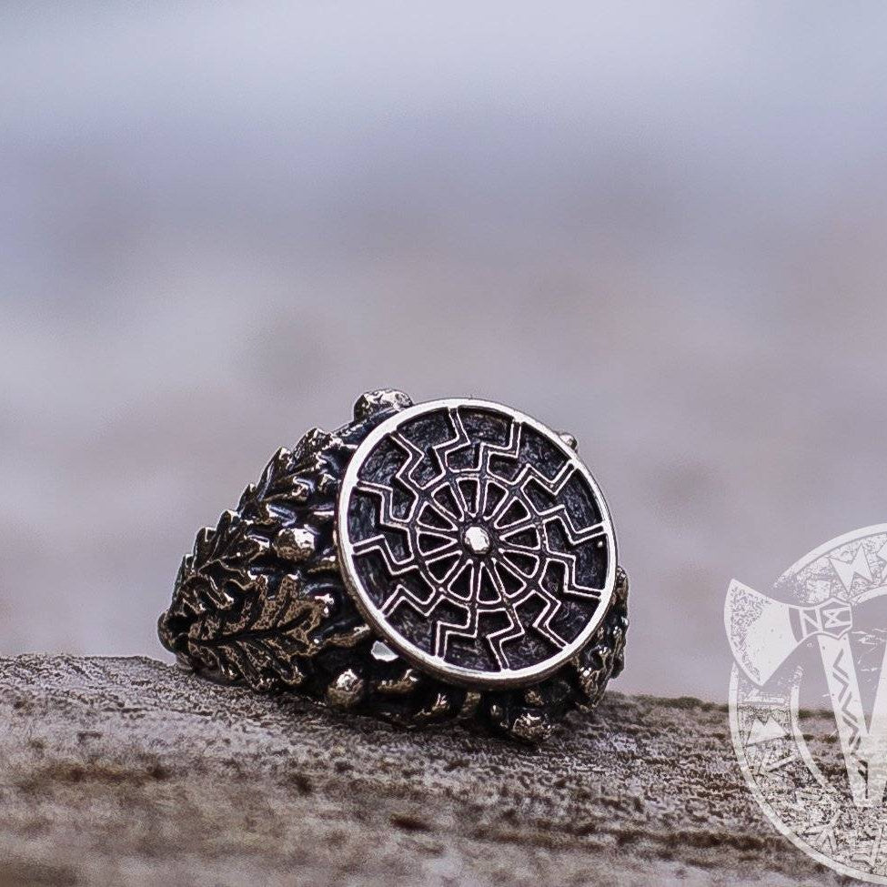 Black Sun/Sun Wheel Symbol Silver Viking Ring with Oak Leaves - VikingsBrand