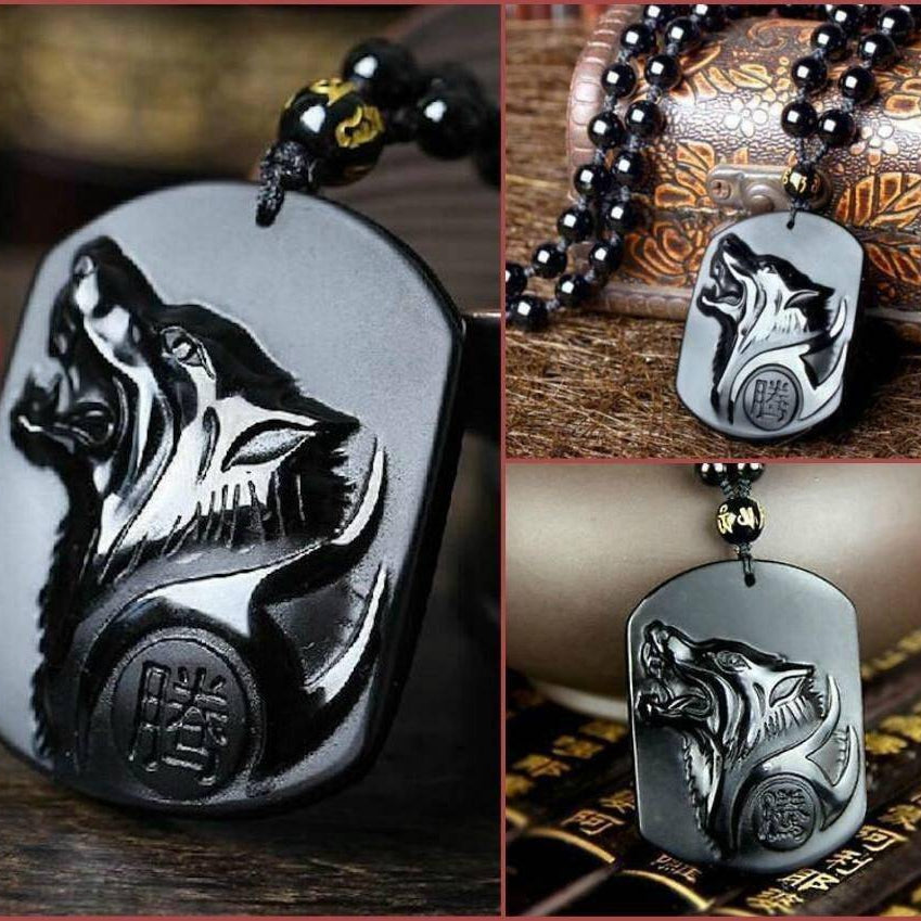 Black Wolf Obsidian Necklace - VikingsBrand