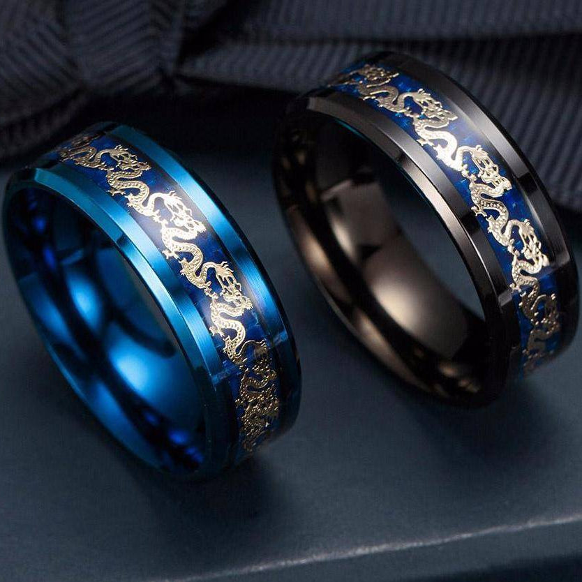 Blue & Black Dragon's Breath - Steel Viking Rings - VikingsBrand