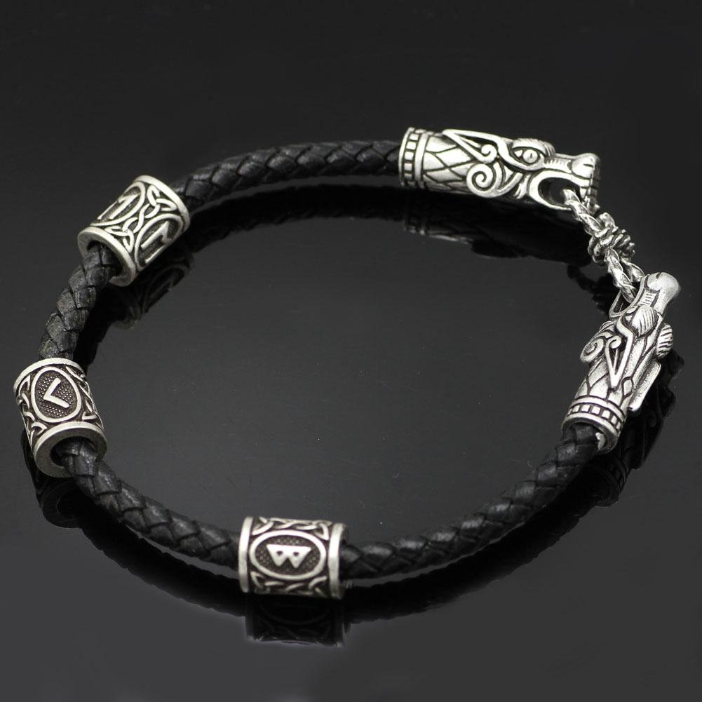 Bracelet with Wolf Head and Elder Futhark Runes - VikingsBrand