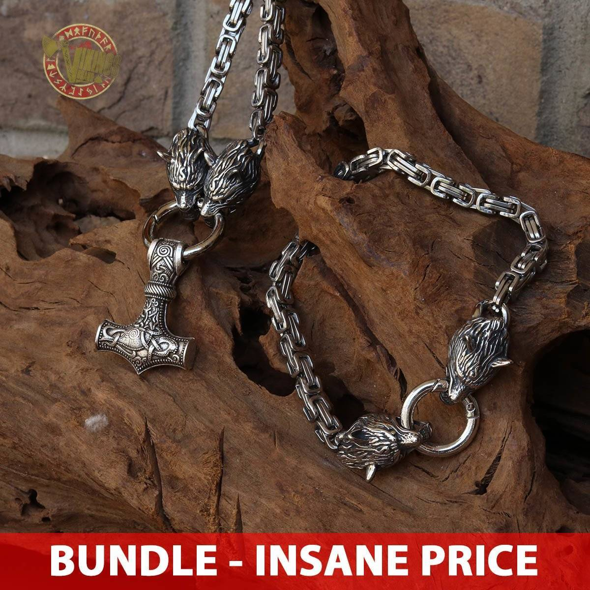 BUNDLE Stainless Steel Wolf Head King's Chain Necklace + Bracelet - VikingsBrand