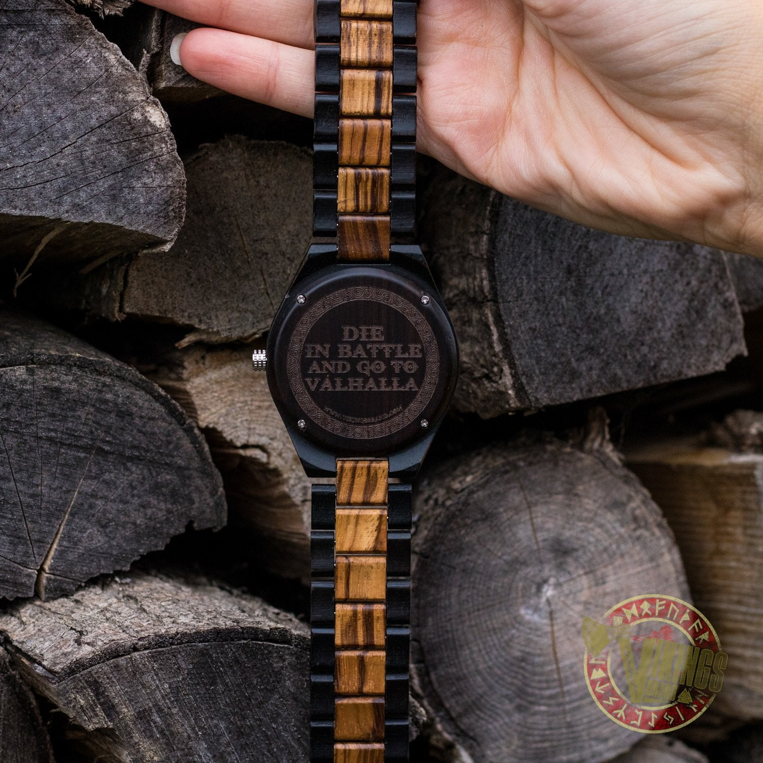 CUSTOM ENGRAVING - Ivar Viking Wooden Watch with Helm of Awe Viking Symbol & Your Engraved Text - VikingsBrand