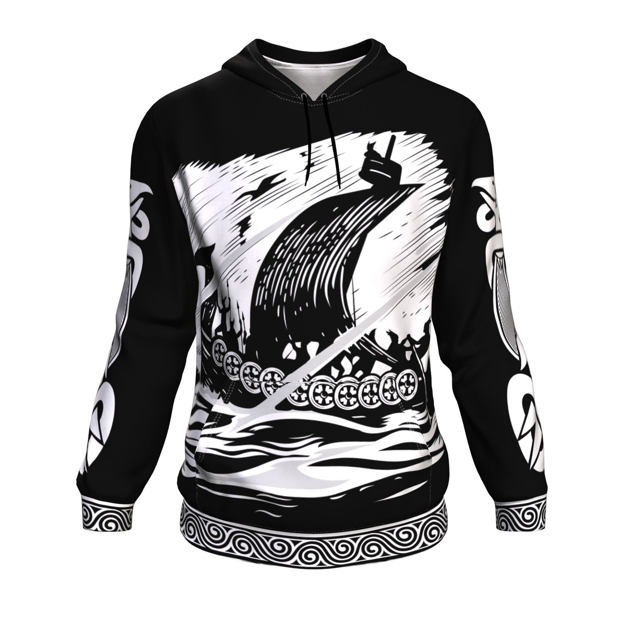 Drakkar Sailing with Viking Warriors Black Hoodie