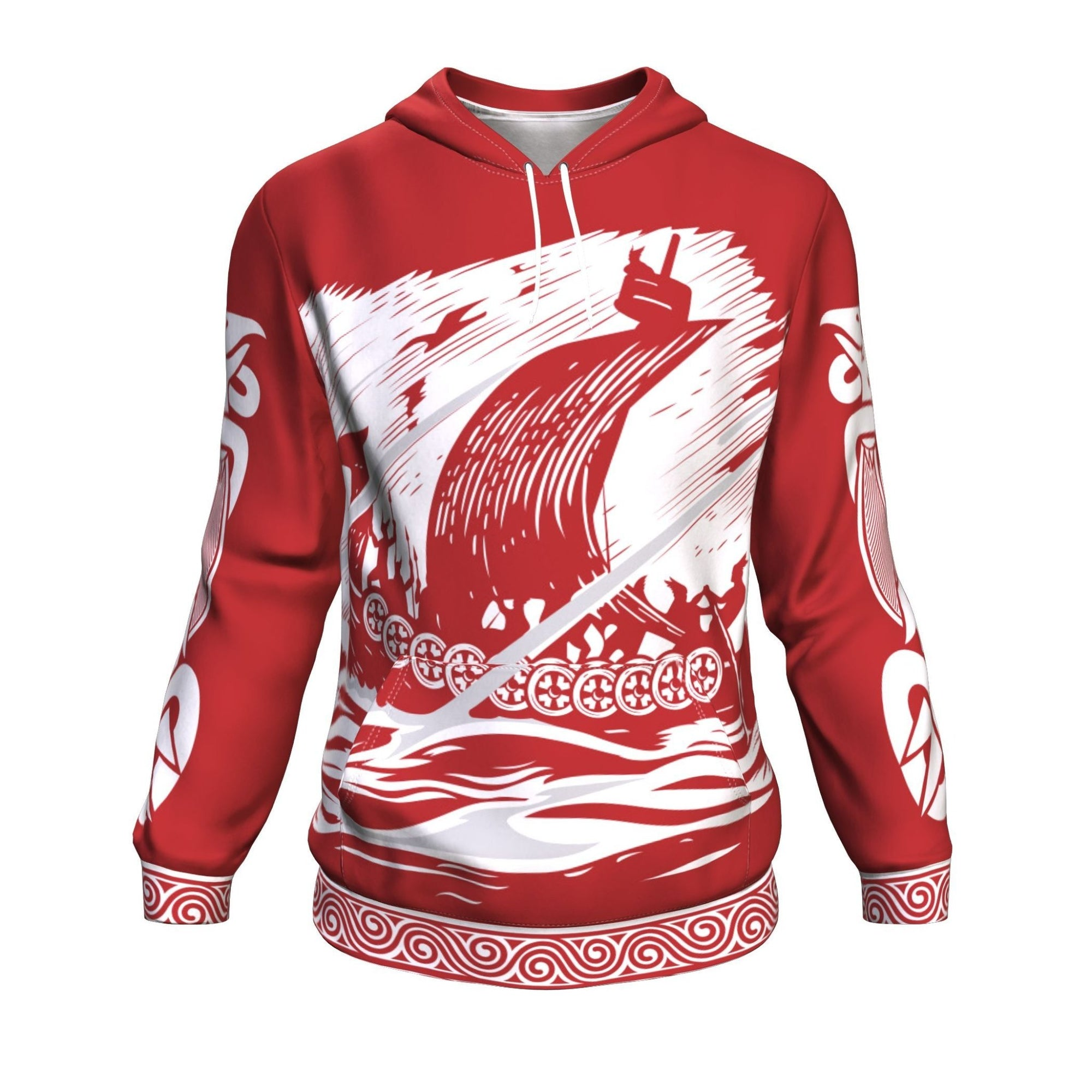 Drakkar Sailing with Viking Warriors Red Hoodie
