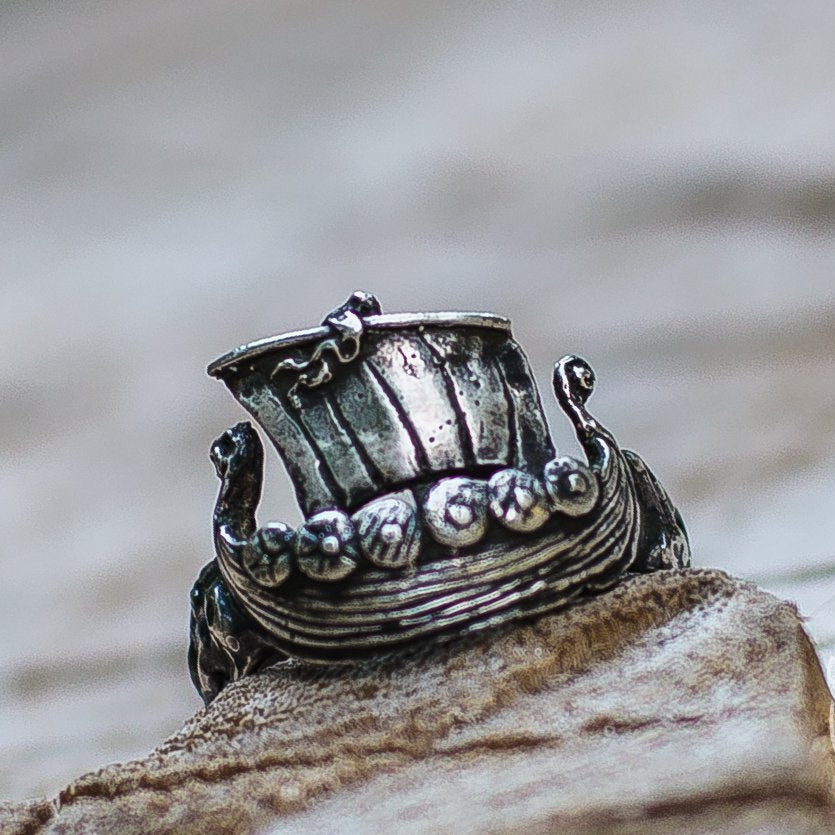 Drakkar Ship 925 Sterling Silver Viking Ring - VikingsBrand