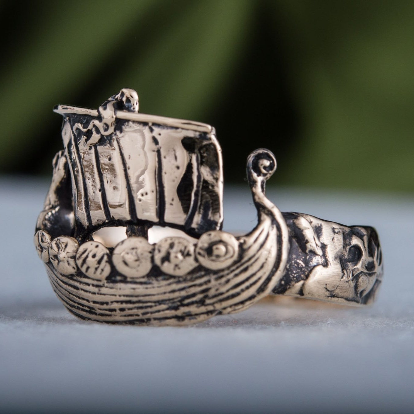 Drakkar Ship Handcrafted Bronze Viking Ring