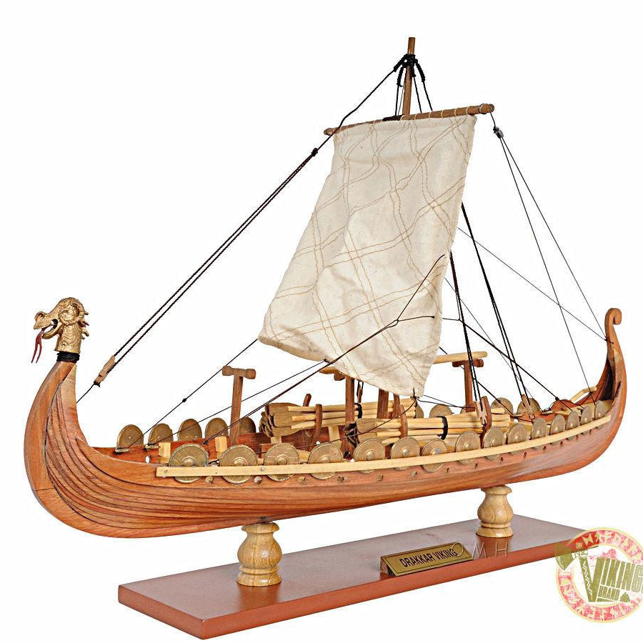 Drakkar Viking Ship - Wooden Model - DIY Kit (Unassembled)- 1/50 Scale
