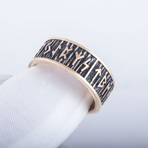 Elder Futhark Runes Bronze Viking Ring with Wide Rim