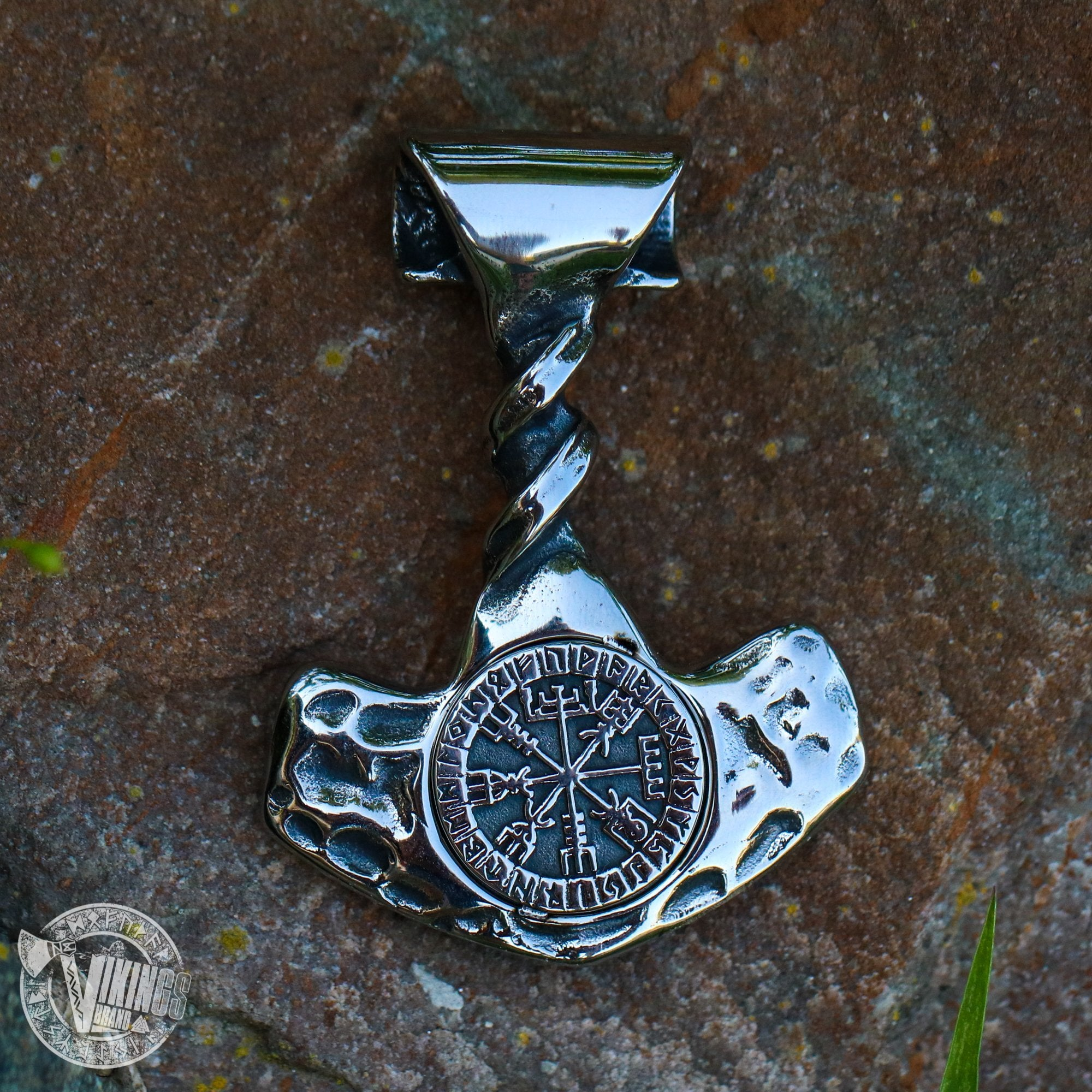 Forged Hammer of Thor with Vegvisir - VikingsBrand