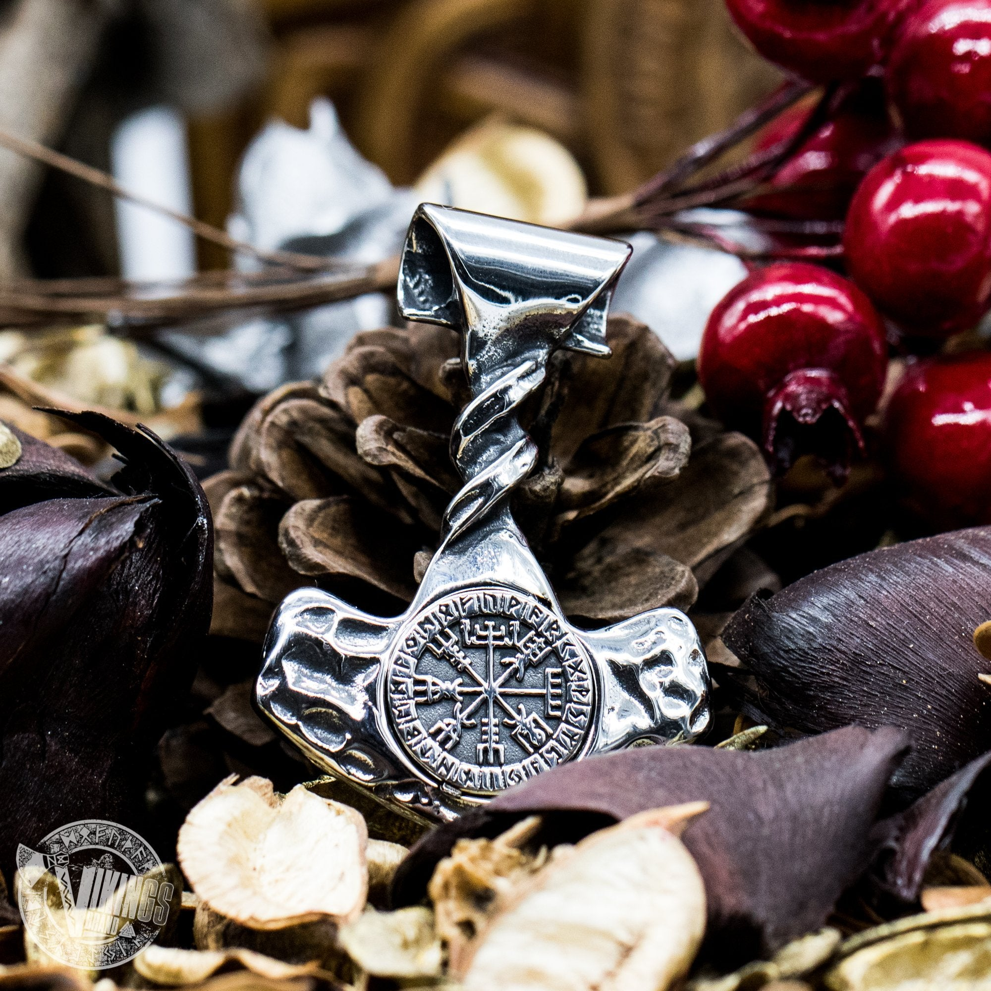 Forged in Fire Thor Hammer Pendant with Vegvisir - VikingsBrand