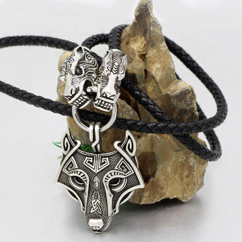 Genuine Leather Viking Necklace with a Wolf Heads and Fenrir Pendant - VikingsBrand