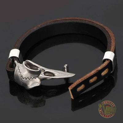Genuine Viking Leather Bracelet with Raven Head - VikingsBrand