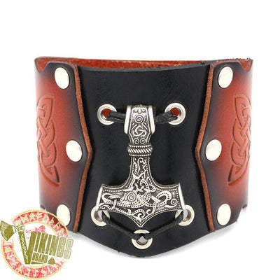 thor s hammer bracelet genuine leather vikingsbrand