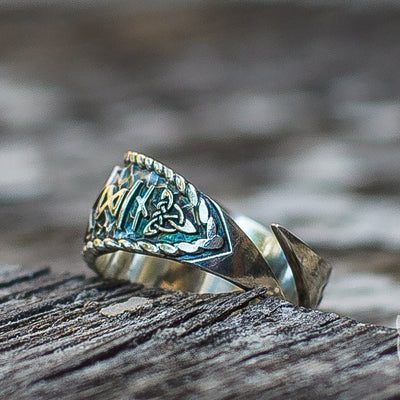 Hail Odin Style with Helm of Awe Symbol 925 Sterling Silver Viking Ring - VikingsBrand