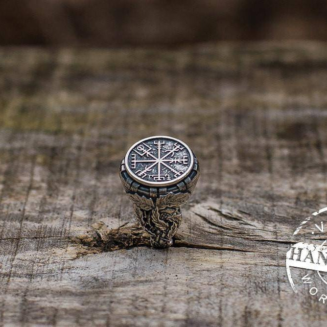Handcrafted Ring with Vegvisir Symbol - Viking Ring