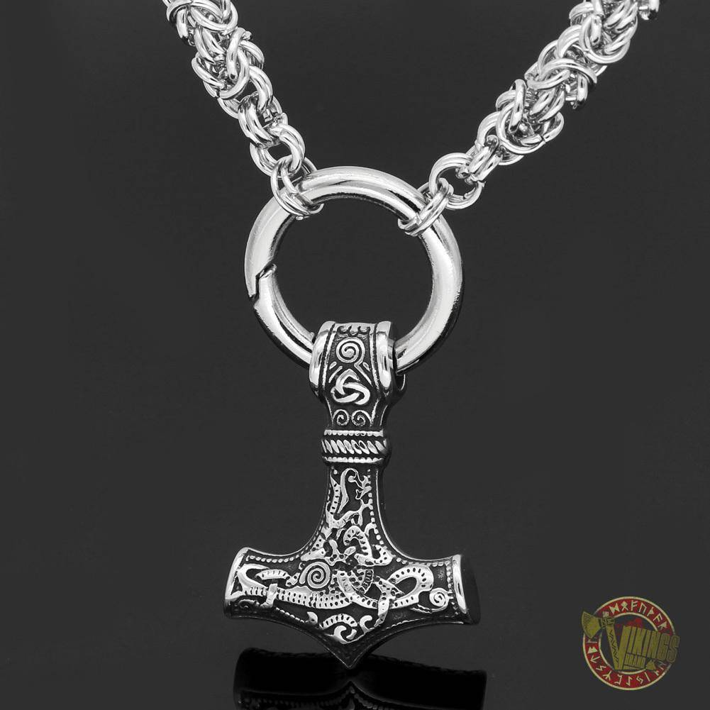 HANDMADE Chain Viking Necklace with Thor Hammer Mjolnir - VikingsBrand