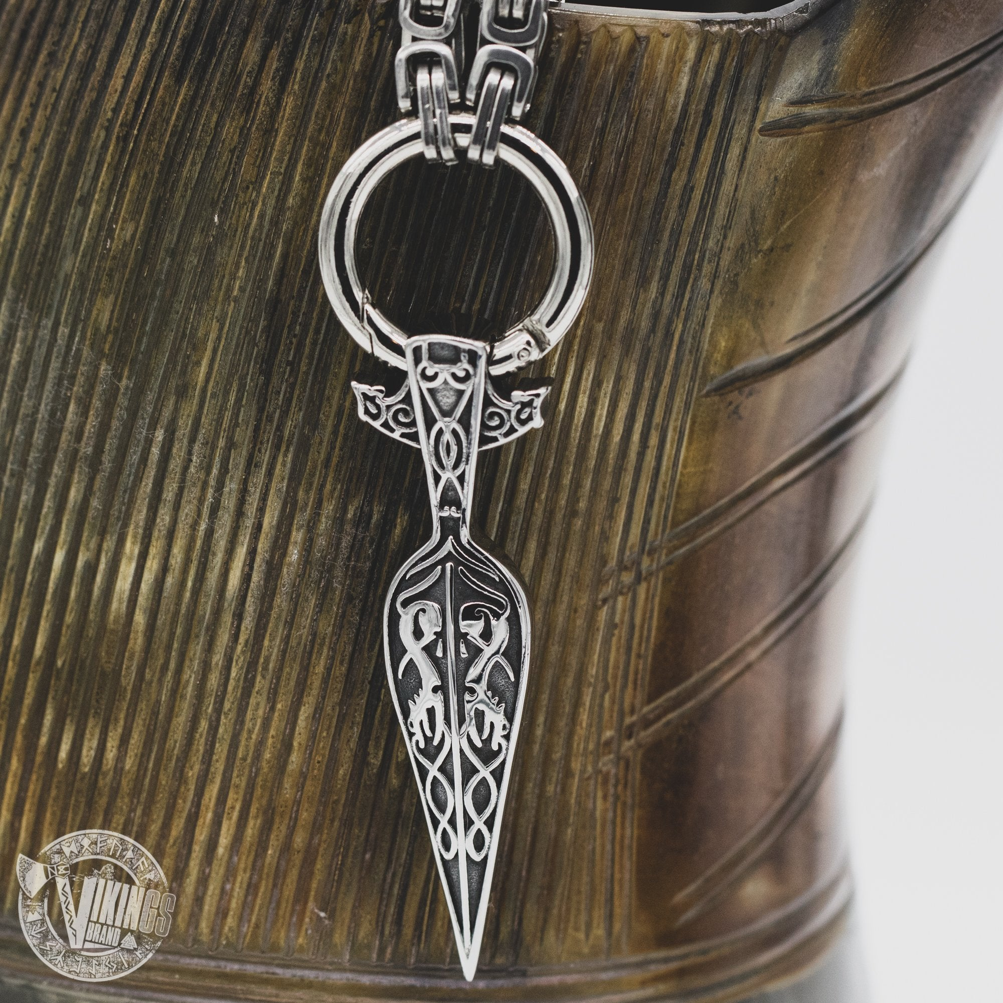 HANDMADE King Chain Stainless Steel Necklace with Gungnir (Odin Spear) Pendant - VikingsBrand