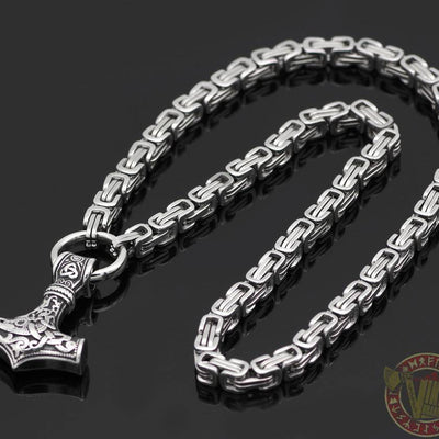 HANDMADE King's Chain Necklace with Thor's Hammer - VikingsBrand