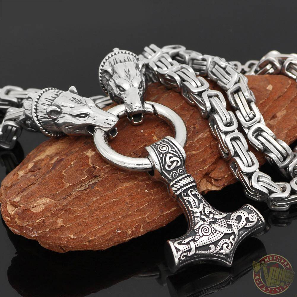 HANDMADE King's Chain Necklace with Wolf Head Beads and Thor's Hammer - VikingsBrand