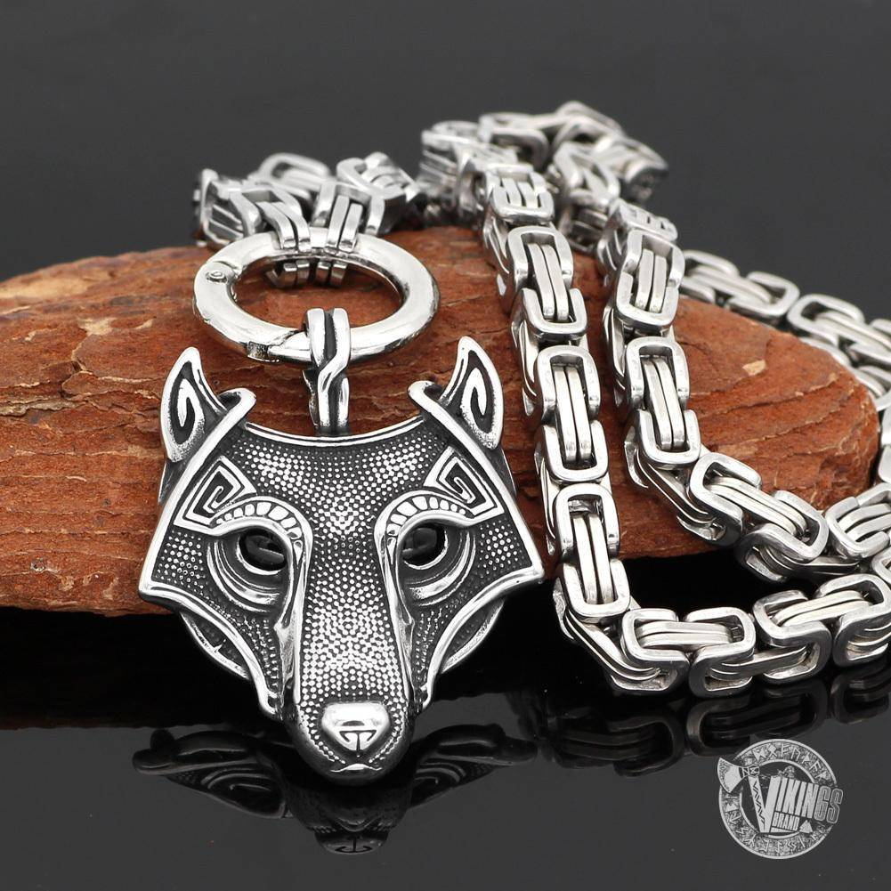 HANDMADE King's Stainless Steel Necklace with Viking Wolf Head Pendant - VikingsBrand