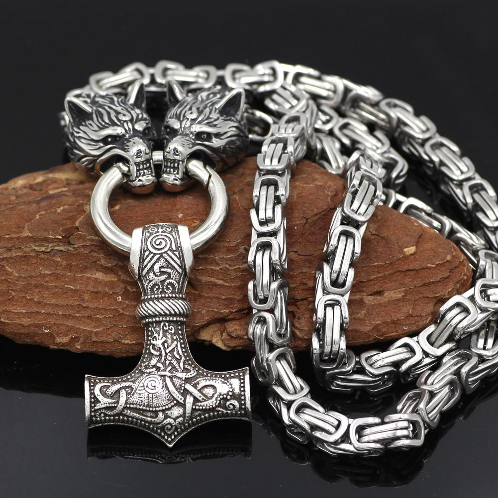 HANDMADE King's Stainless Steel Wolf Head Necklace with Huge Thor's Hammer - VikingsBrand