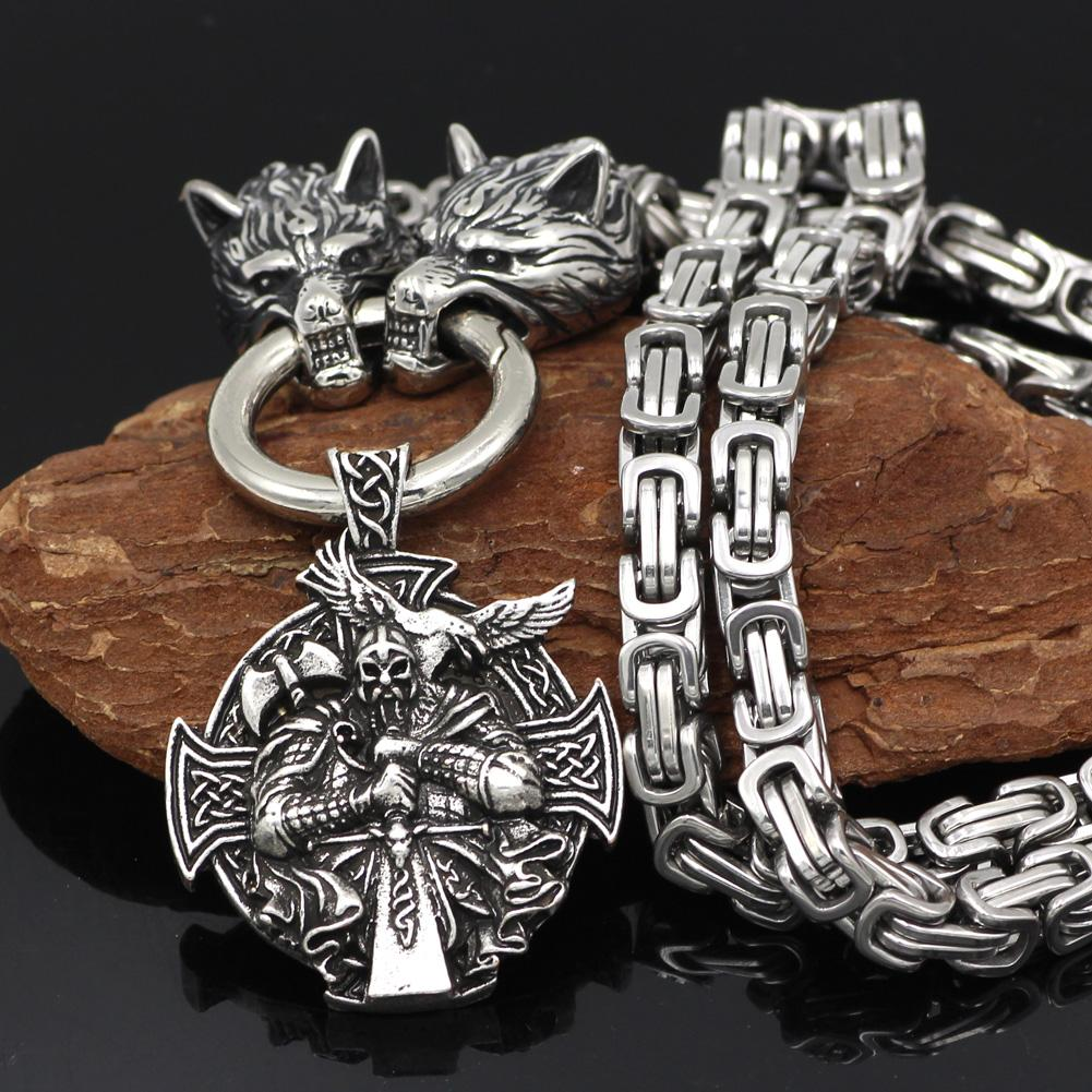 HANDMADE King's Stainless Steel Wolf Head Necklace with Odin Warrior Pendant - VikingsBrand