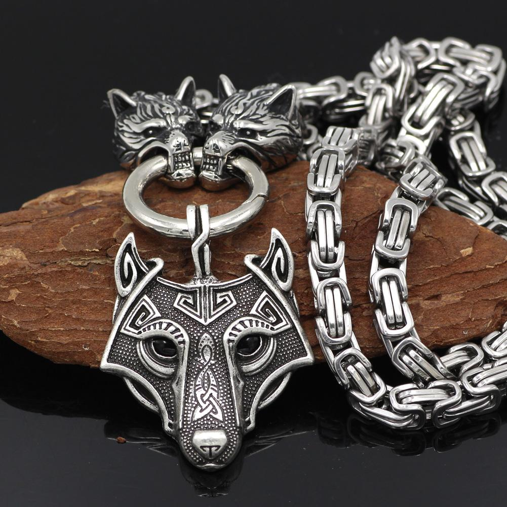 HANDMADE King's Stainless Steel Wolf Head Necklace with Wolf Pendnat - VikingsBrand