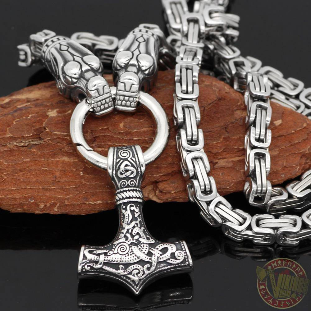 HANDMADE King's Stainless Steel Wolf Head Thor's Hammer Necklace - VikingsBrand