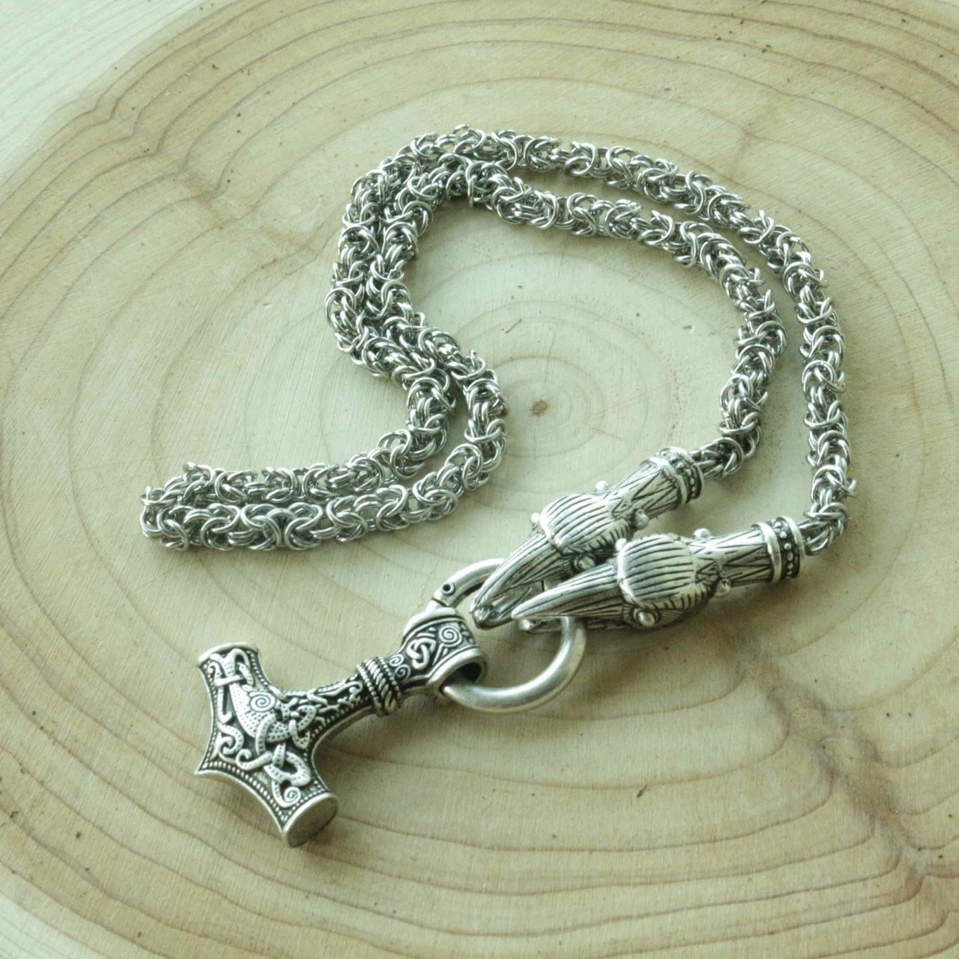 HANDMADE Legendary King's Chain Necklace with Thor's Hammer! - VikingsBrand