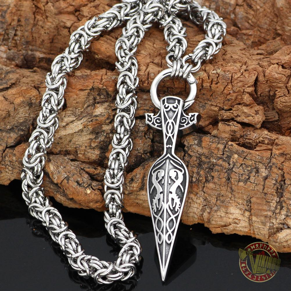 HANDMADE Massive Chain Stainless Steel Necklace with Gungnir (Odin Spear) Pendant - VikingsBrand
