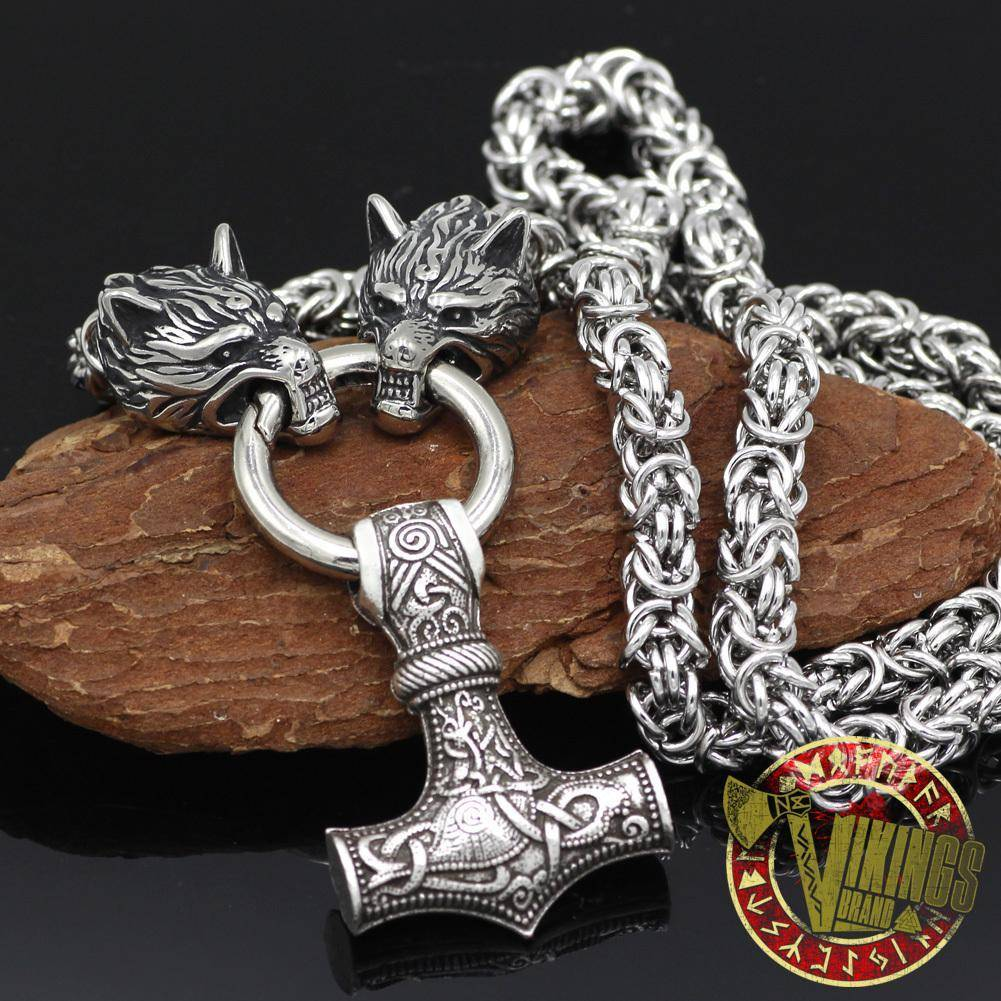 HANDMADE Massive Stainless Steel Wolf Head Necklace with Huge Thor's Hammer