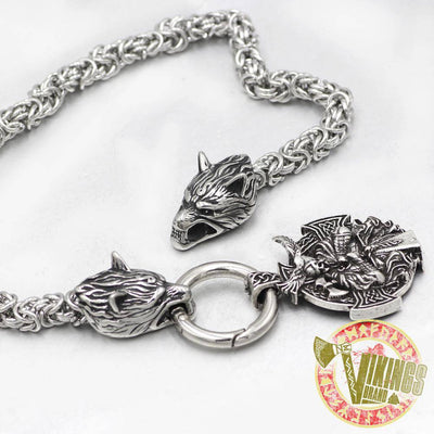 HANDMADE Massive Stainless Steel Wolf Head Necklace with Odin Warrior Pendant - VikingsBrand