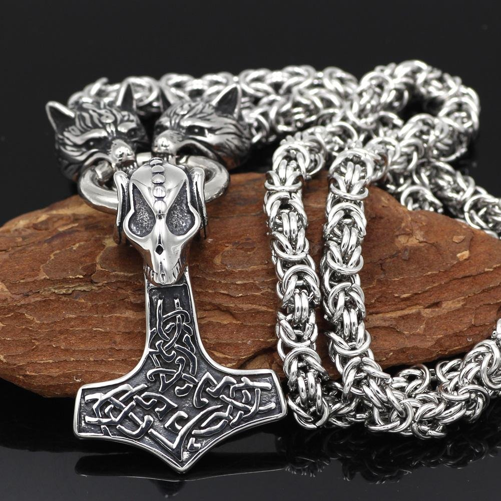 HANDMADE Massive Stainless Steel Wolf Head Necklace with Skull Thor's Hammer - VikingsBrand