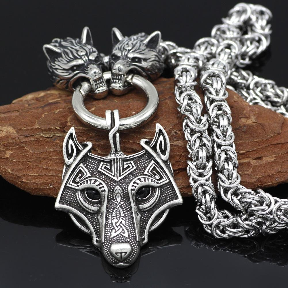 HANDMADE Massive Stainless Steel Wolf Head Necklace with Wolf Pendant - VikingsBrand